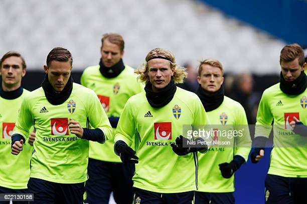 Ludwig Augustinsson of Sweden and Oscar Hiljemark of Sweden during the FIFA 2018 World Cup Qualifier between France and Sweden at Stade de France on...