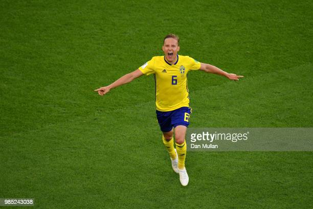 Ludwig Augustinsson of Sweden celebrates after scoring his team's first goal during the 2018 FIFA World Cup Russia group F match between Mexico and...