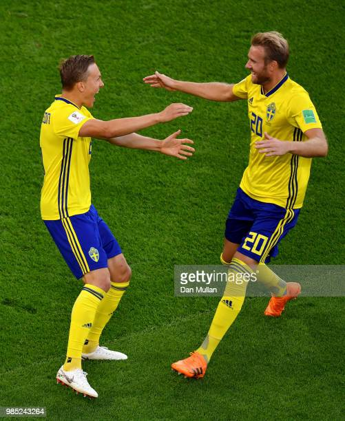 Ludwig Augustinsson of Sweden celebrates with teammate Ola Toivonen after scoring his team's first goal during the 2018 FIFA World Cup Russia group F...