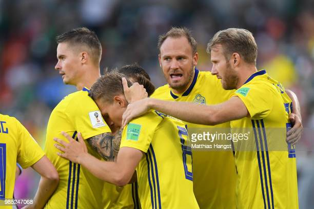 Ludwig Augustinsson of Sweden celebrates with teammates after scoring his team's first goal during the 2018 FIFA World Cup Russia group F match...