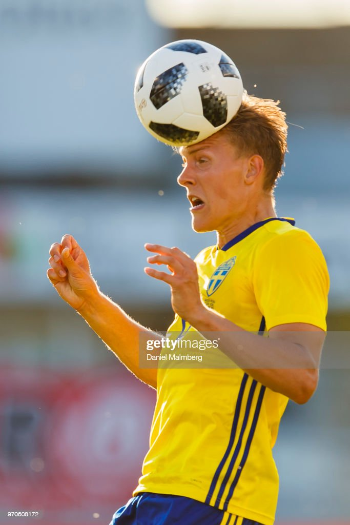 Ludwig Augustinsson #6 of Sweden in a header during the international friendly match between Sweden v Peru at the Ullevi Stadium on June 9, 2018 in Gothenburg, Sweden.