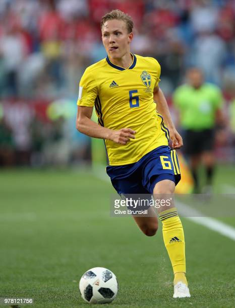 Ludwig Augustinsson of Sweden in action during the 2018 FIFA World Cup Russia group F match between Sweden and Korea Republic at Nizhniy Novgorod...