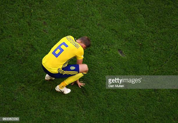 Ludwig Augustinsson of Sweden looks dejected following his sides defeat in the 2018 FIFA World Cup Russia Quarter Final match between Sweden and...