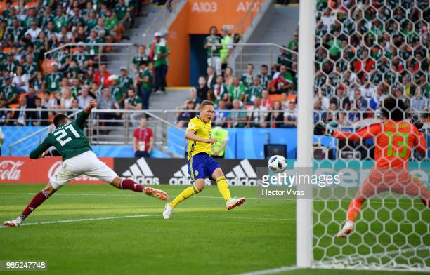 Ludwig Augustinsson of Sweden scores his team's first goal during the 2018 FIFA World Cup Russia group F match between Mexico and Sweden at...