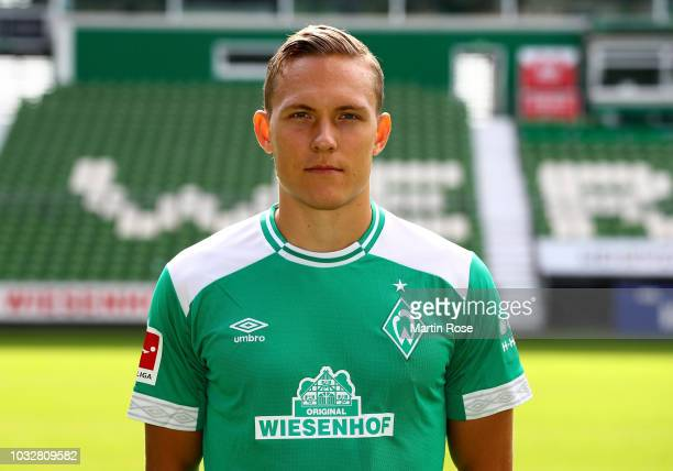 Ludwig Augustinsson of Werder Bremen poses during the team presentation at Weser Stadion on September 13 2018 in Bremen Germany