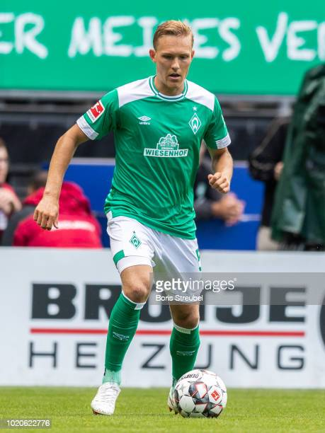 Ludwig Augustinsson of Werder Bremen runs with the ball during the Pre Season Friendly Match between Werder Bremen and FC Villareal at Weserstadion...