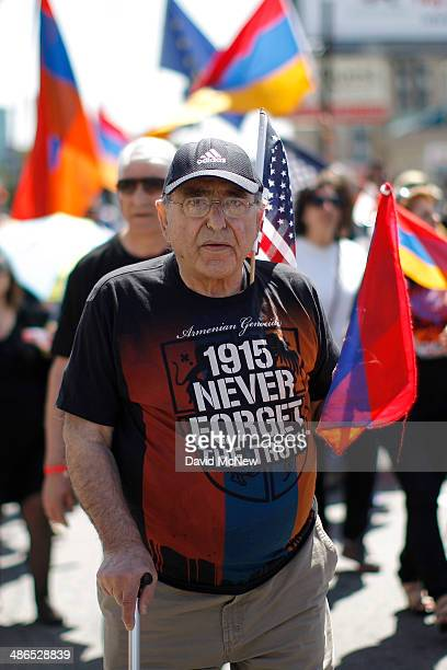Ludwig Bakhshian marches on the 99th anniversary of the Armenian Genocide, calling for recognition and reparations, on April 24, 2014 in Los Angeles,...