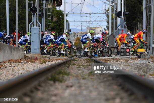 Ludwig De Winter of Belgium and Team Wanty Groupe Gobert / Andrea Pasqualon of Italy and Team Wanty Groupe Gobert / Train tracks / Landscape / during...