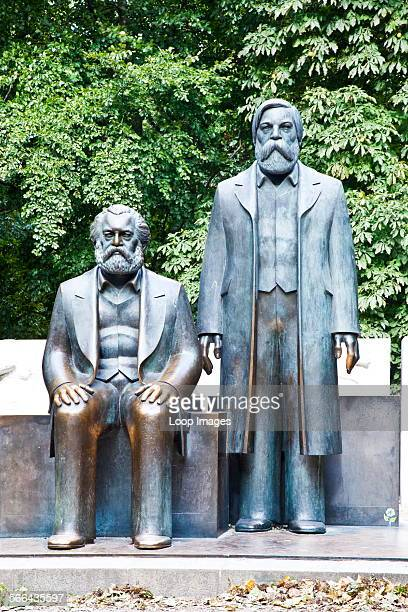 Ludwig Engelhardt's bronze statue of Karl Marx and Friedrich Engels in Marx Engels Forum park in Berlin