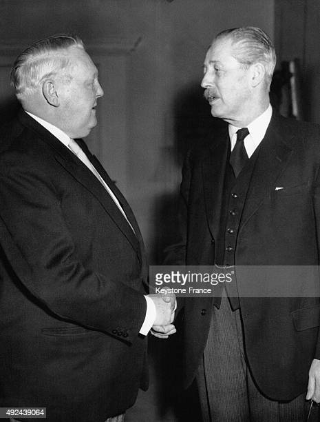 Ludwig Erhard Minister of Western Germany's Economics welcomed by Harold Macmillan on February 26 1956 in London United Kingdom