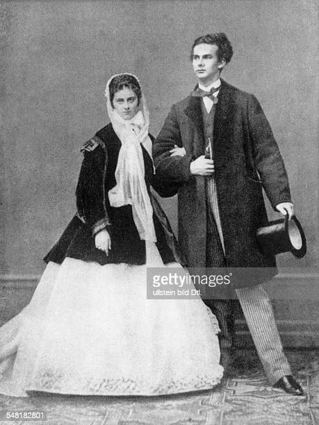 Ludwig II. Of Bavaria *25.08.1845-13.06.1886+ King of Bavaria - with his fiancee, Duchess Sophie of Wittelsbach - 1867 - Photographer: Josef Albert -...