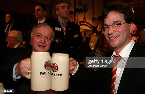 Ludwig Stiegler and Florian Pronold politicians of Germany's Social democratic party drink beer as strong beer season kicks off at the Nockherberg...
