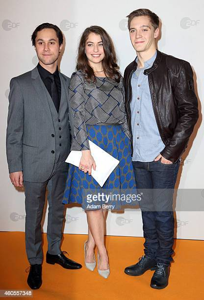 Ludwig Trepte Henriette Confurius and Jonas Nay arrive for the premiere of 'Tannbach Schicksal eines Dorfes' at Sony Center on December 16 2014 in...