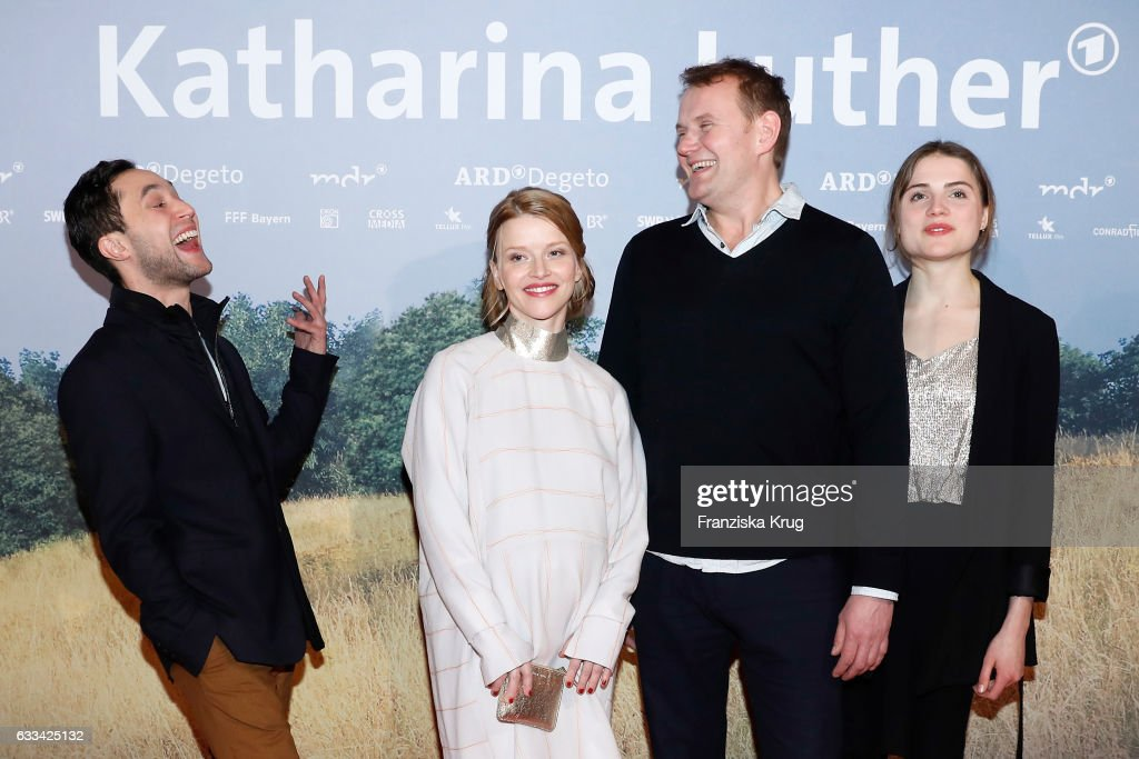 Ludwig Trepte, Karoline Schuch, Devid Striesow and Mala Emde attend the 'Katharina Luther' Premiere at Franzoesische Friedrichstadtkirche in Berlin on February 1, 2017 in Berlin, Germany.