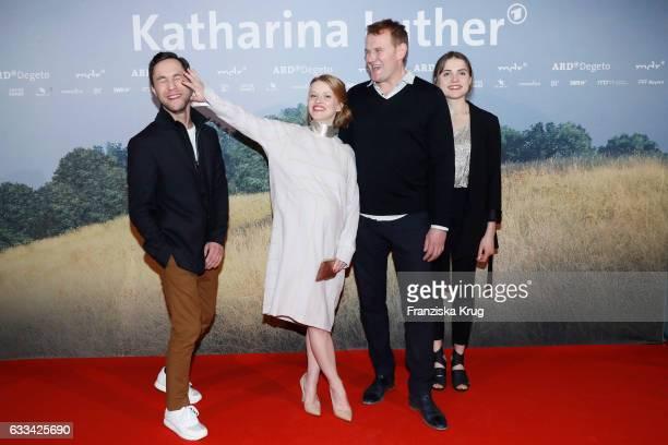 Ludwig Trepte Karoline Schuch Devid Striesow and Mala Emde attend the 'Katharina Luther' Premiere at Franzoesische Friedrichstadtkirche in Berlin on...