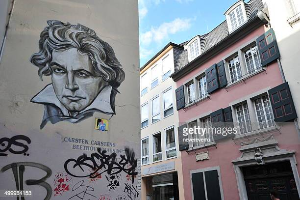 ludwig van beethoven doodle and house of birth - beethoven stock pictures, royalty-free photos & images