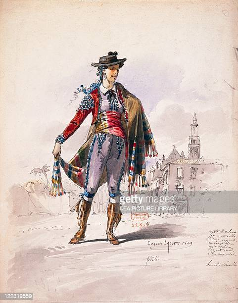 Ludwig van Beethoven Fidelio Op 72 1805 Costume sketch for Leonora by Pierre Eugene Lacoste Performance at Paris Theatre des Italiens 1869