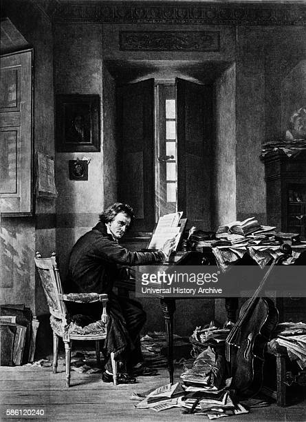 Ludwig van Beethoven German Composer in his Study Gravure Print 1895