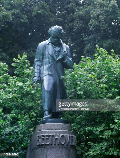 Ludwig van Beethoven . German composer. Statue by Hugo Uher , 1929. Karlovy Vary. Czech Republic.