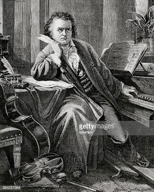 BEETHOVEN Ludwig Van German composer XIX century engraving