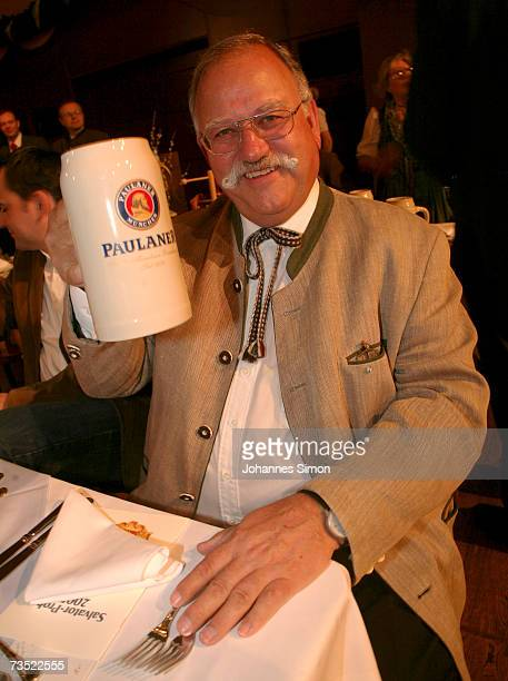 Ludwig Wiggerl Hagn poses with a beer tankard at the Nockherberg beer hall as the Strong Beer Season kicks off on March 8 in Munich Germany...