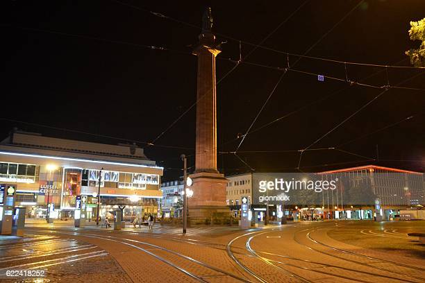 Ludwig's monument by night in Luisenplatz, Darmstadt, Germany