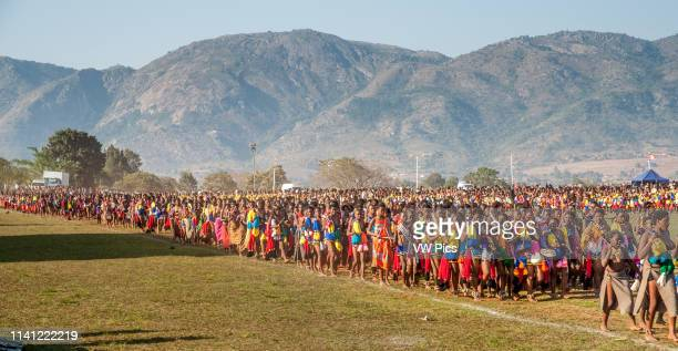 Ludzidzini Swaziland Africa Annual Umhlanga or reed dance ceremony in which up to 100000 young Swazi women gather to celebrate their virginity and...