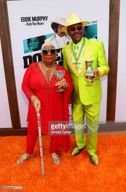 Luenell and Don Magic Juan attend the Dolemite Is My Name premiere presented by Netflix on September 28 2019 in Los Angeles California