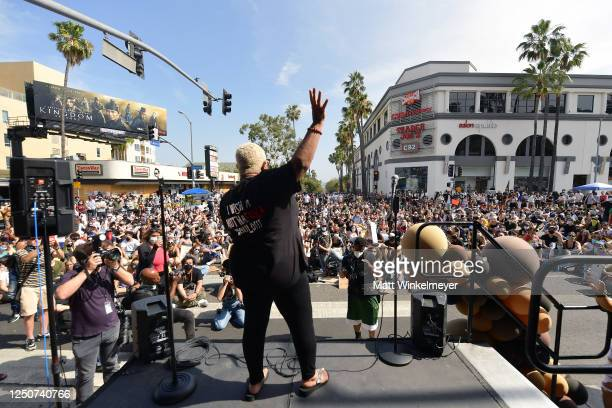 Luenell speaks onstage at Comic and Hollywood Communities Coming Together to Mark Juneteenth Anniversary of Freedom on June 19 2020 in West Hollywood...