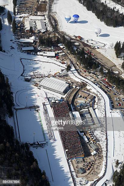 Luftaufnahme der Chiemgauarena Chiemgau Arena Biathlonstadion Biathlon WM in Ruhpolding 2012 biathlon world Championship in Ruhpolding 2012