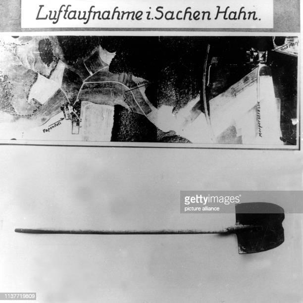 Luftaufnahme des Tatorts in Sachen Hahn sowie die benutzte Schaufel Am 22 April 1931 wurde Peter Kürten wegen Mordes in neun Fällen und weiteren...