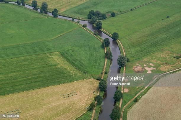 Luftaufnahme vom Fluss Hamme und Hammeniederung Worpswede Teufelsmoor Niedersachsen Deutschland Europa Künstlerdorf Künstlerkolonie Reise BB DIG PNr...