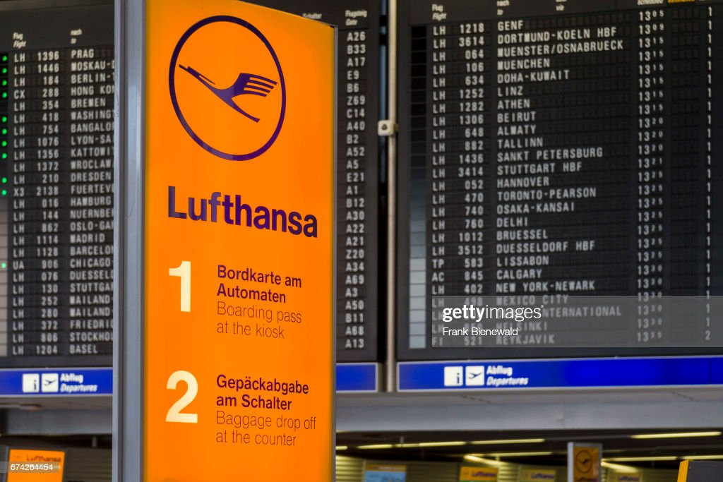 Lufthansa Advertisement in front of the departure time table