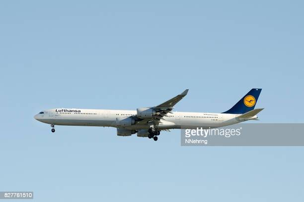 Lufthansa Airbus 340-600 commercial passenger jet airplane