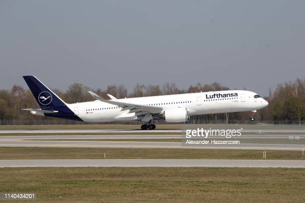 A Lufthansa Airbus A 350941 aircraft is air born at Airport Munich FranzJosefStrauss International on April 03 2019 in Munich Germany