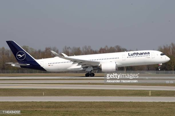 Lufthansa Airbus A 350-941 aircraft is air born at Airport Munich Franz-Josef-Strauss International on April 03, 2019 in Munich, Germany.