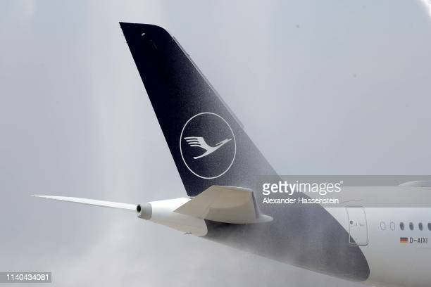 Lufthansa Airbus A 350-941 aircraft tail is pictured on the taxi way at Airport Munich Franz-Josef-Strauss International on April 03, 2019 in Munich,...