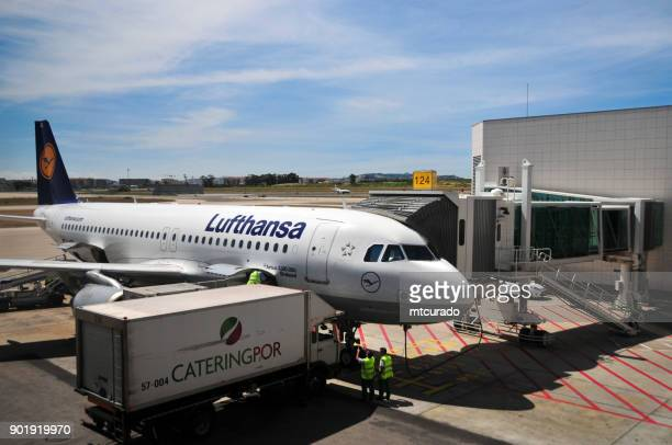 Lufthansa Airbus A320-200 aircraft and Cateringpor truck - Lisbon Airport, Portugal
