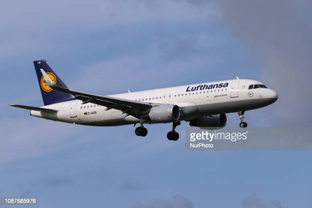 Lufthansa Airbus A320200 with registration DAIUR landing at Amsterdam Schiphol Airport AMS EHAM in the Netherlands Lufthansa with the Lufthansa Group...