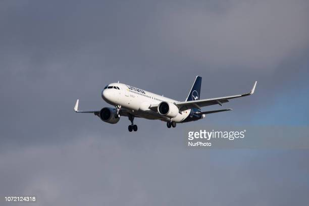 Lufthansa Airbus A320neo with the new livery landing at Heathrow International Airport in London The aircraft is the newest generation of the version...