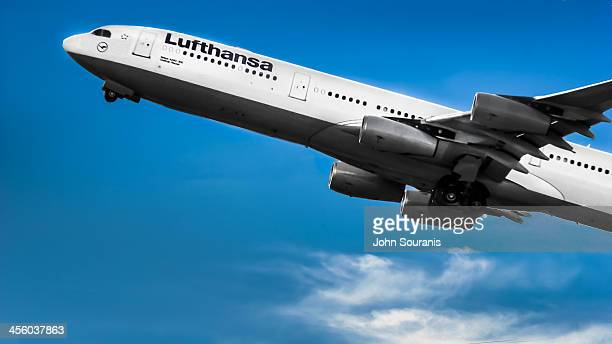 Lufthansa Airbus A340300 shortly after takeoff from Trudeau International Airport in DorvalQuebec just outside Montreal