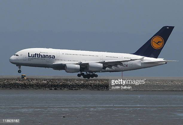 Lufthansa Airbus A380 plane lands at San Francisco International Airport on May 10 2011 in San Francisco California Lufthansa became the first major...