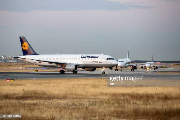 Lufthansa Airbus taking off at runway 18 West