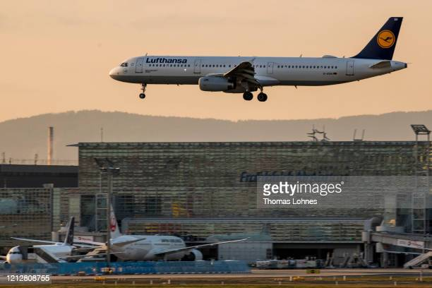 Lufthansa airplane lands at Frankfurt Airport as airlines are affected by travel bans related to the spread of the coronavirus on March 16, 2020 in...