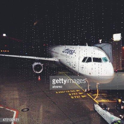 Lufthansa airplane on a rainy morning