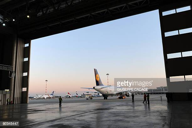 A Lufthansa airplane sits on the tarmac of Malpensa airport on October 15 2009 AFP PHOTO / GIUSEPPE CACACE