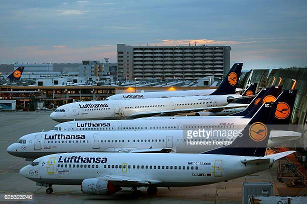 Lufthansa airplanes at waiting position on the first of a two-day strike at Frankfurt Airport on November 23, 2016 in Frankfurt, Germany. Lufthansa...
