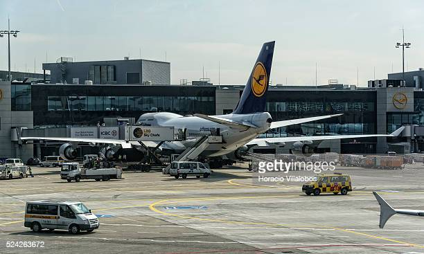 Lufthansa airplanes seen in Frankfurt International Airport Frankfurt Germany 14 April 2015 Strikes by Lufthansa pilots have been put back until the...