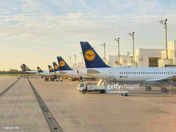 Lufthansa aroplanes at the gate of Franz-Josef Strauss Airport on October 14, 2019 in Munich, Germany.