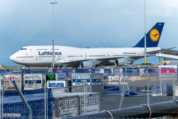 Lufthansa Boeing 747400 sits on the tarmac at Auckland International Airport after arriving at 7am to pick up German and European travellers on March...